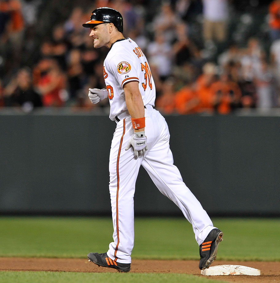 The Orioles' outfielder pulled a hamstring during his home trot on June 30, 2010 and was forced to spend 15 days on the DL.