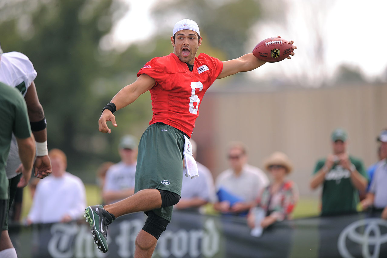 Jets quarterback Mark Sanchez shows off his receiving skills at training camp in Cortland, N.Y.
