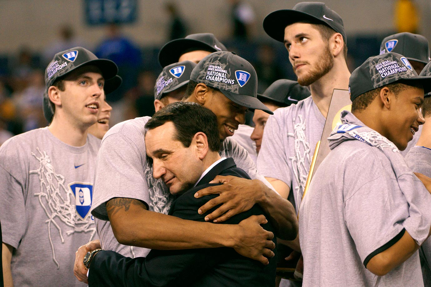 Mike Krzyzewski hugs Lance Thomas after Duke defeated Butler to win the 2010 National Championship.