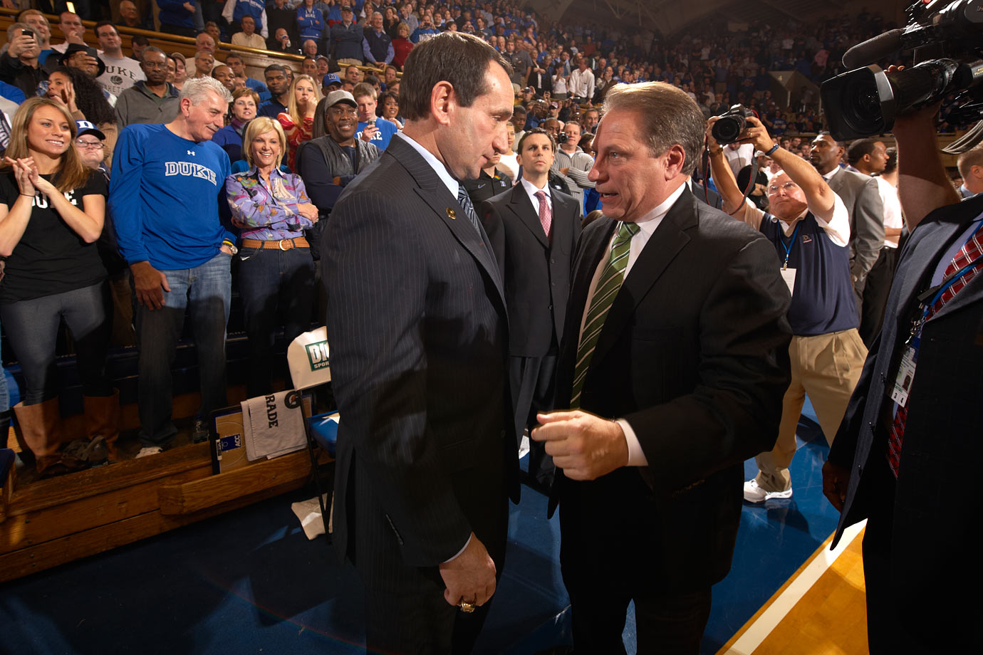 Mike Krzyzewski chats with Tom Izzo after Duke defeated Michigan State, 84-79, in 2010.