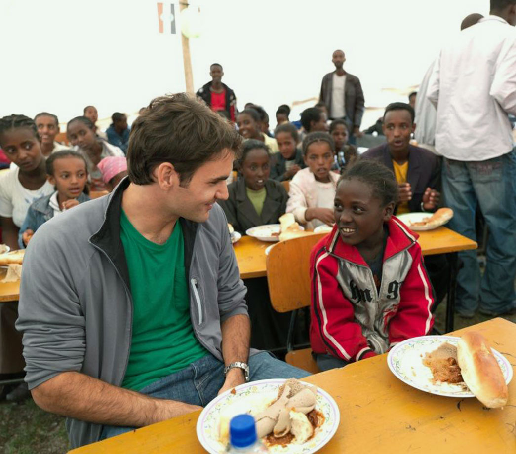 Roger Federer visits children at a school funded by his charity, the Roger Federer Foundation, in Kore Roba, Ethiopia, on Feb. 12, 2010.