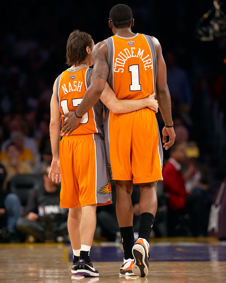 A dynamic duo, Nash and Amar'e Stoudemire share an embrace during Game 2 of the 2010 Western Conference Finals. The Suns would drop the contest 124-112, but would stun the Lakers for victories in Games 3 and 4 to even the series at two. They suffered hard-fought losses in Games 5 and 6, though, as Los Angeles went on to claim a repeat NBA title.