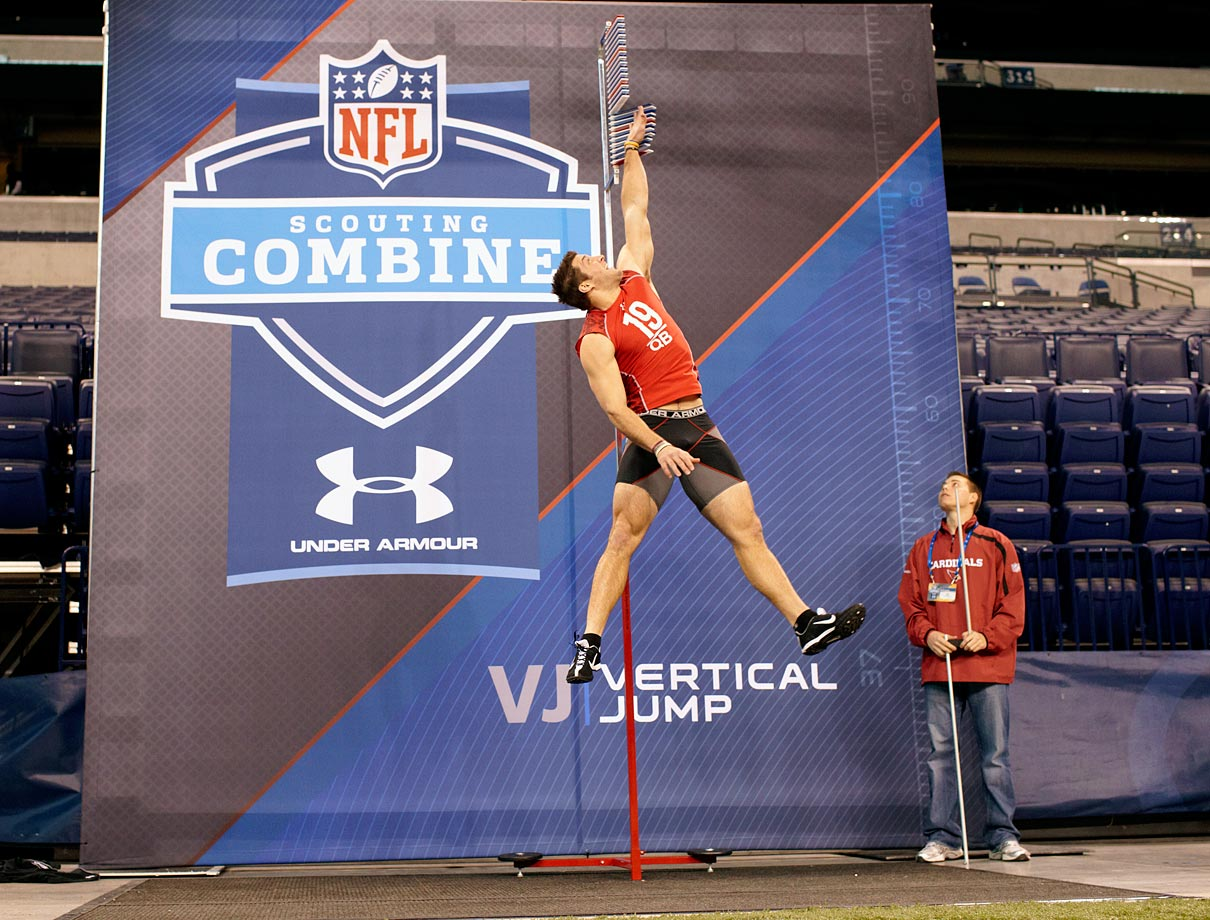 Tim Tebow has his vertical leap tested during the NFL Combine workouts. He was selected with the 25th pick in the first round.
