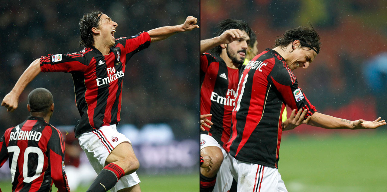 AC Milan's striker strained his arm with an exuberant fist pump following a bicycle kick goal on Nov. 20, 2010.