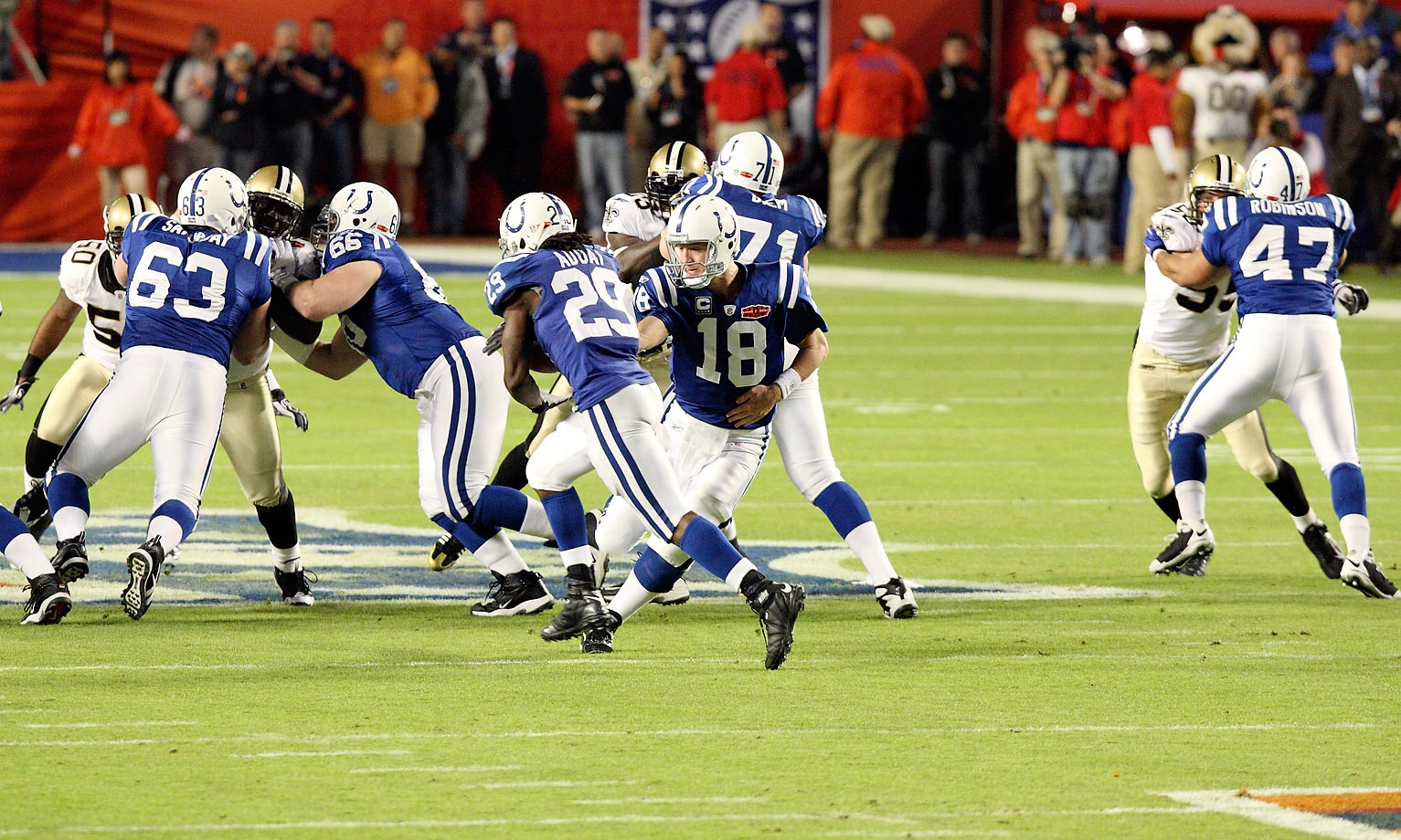 Peyton Manning and the Colts were done in by a gutsy onsides kick by New Orleans to start the second half of Super Bowl XLIV.