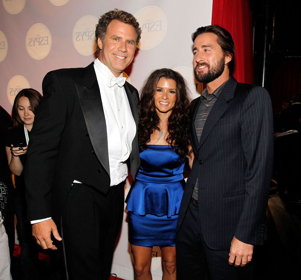 Will Ferrell, Danica Patrick and Luke Wilson pose backstage at the ESPY Awards on July 14, 2010 at Nokia Theatre L.A. Live in Los Angeles.