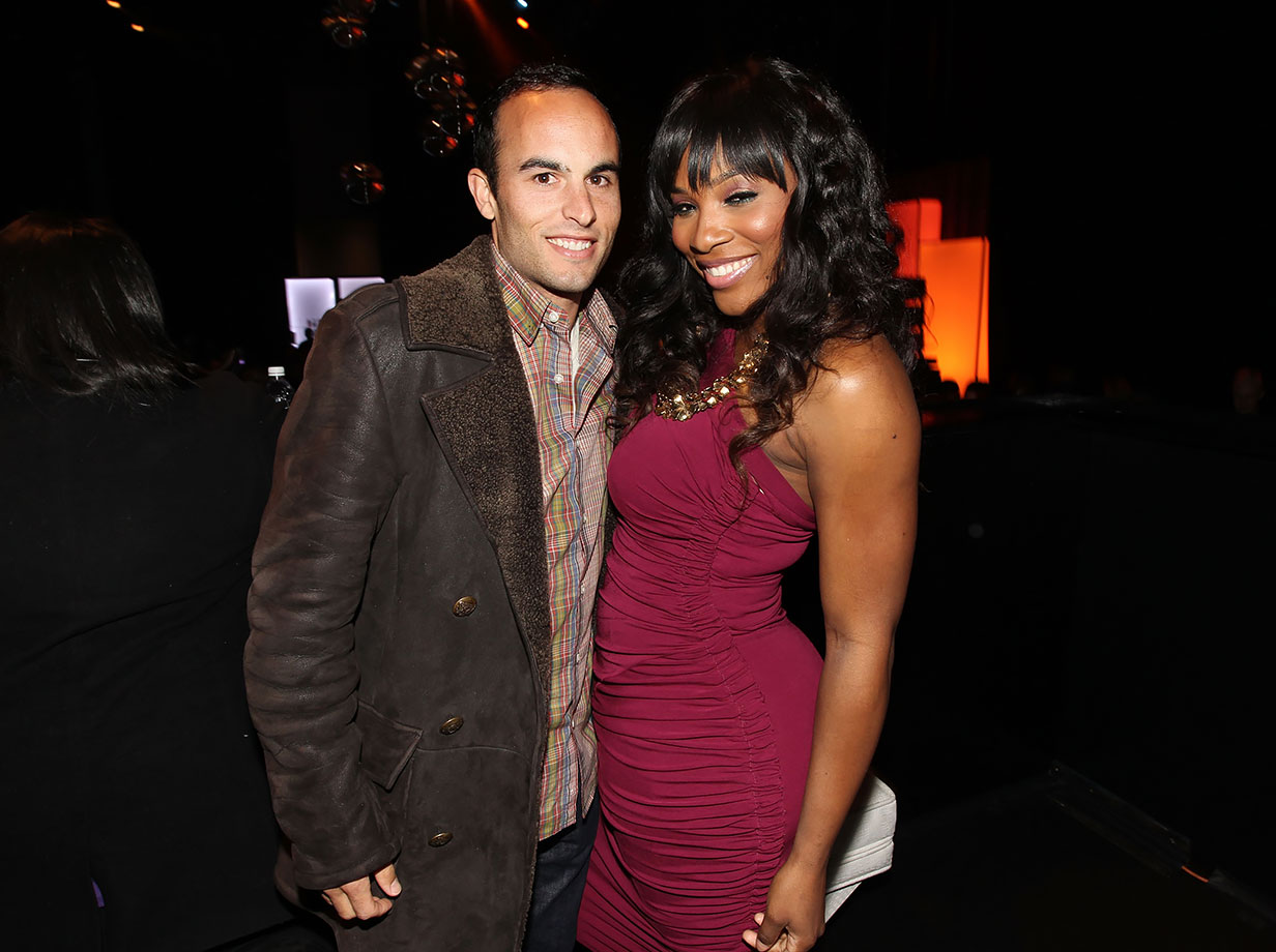 Landon Donovan and Serena Williams attend a Super Bowl Weekend kickoff party in Dallas.
