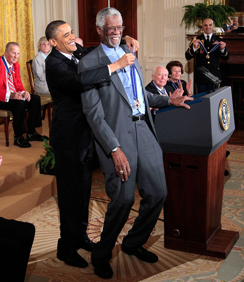 "President Barack Obama presents the Presidential Medal of Freedom to Bill Russell. Obama said the 15 recipients of the award ""reveal the best of who we are and who we aspire to be."""