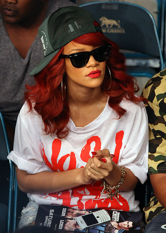 Rihanna takes in the fights at UFC 132 on July 2, 2011 at MGM Grand Garden Arena in Las Vegas.