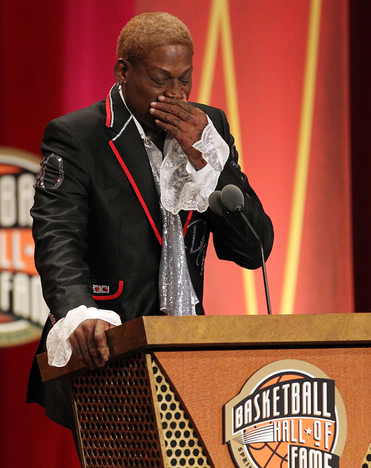 Rodman tries to keep it together during his Basketball Hall of Fame Enshrinement Ceremony in 2011.