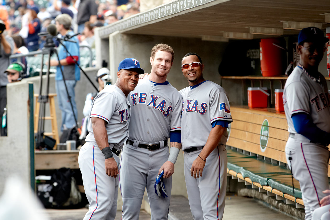 with Adrian Beltre and Nelson Cruz