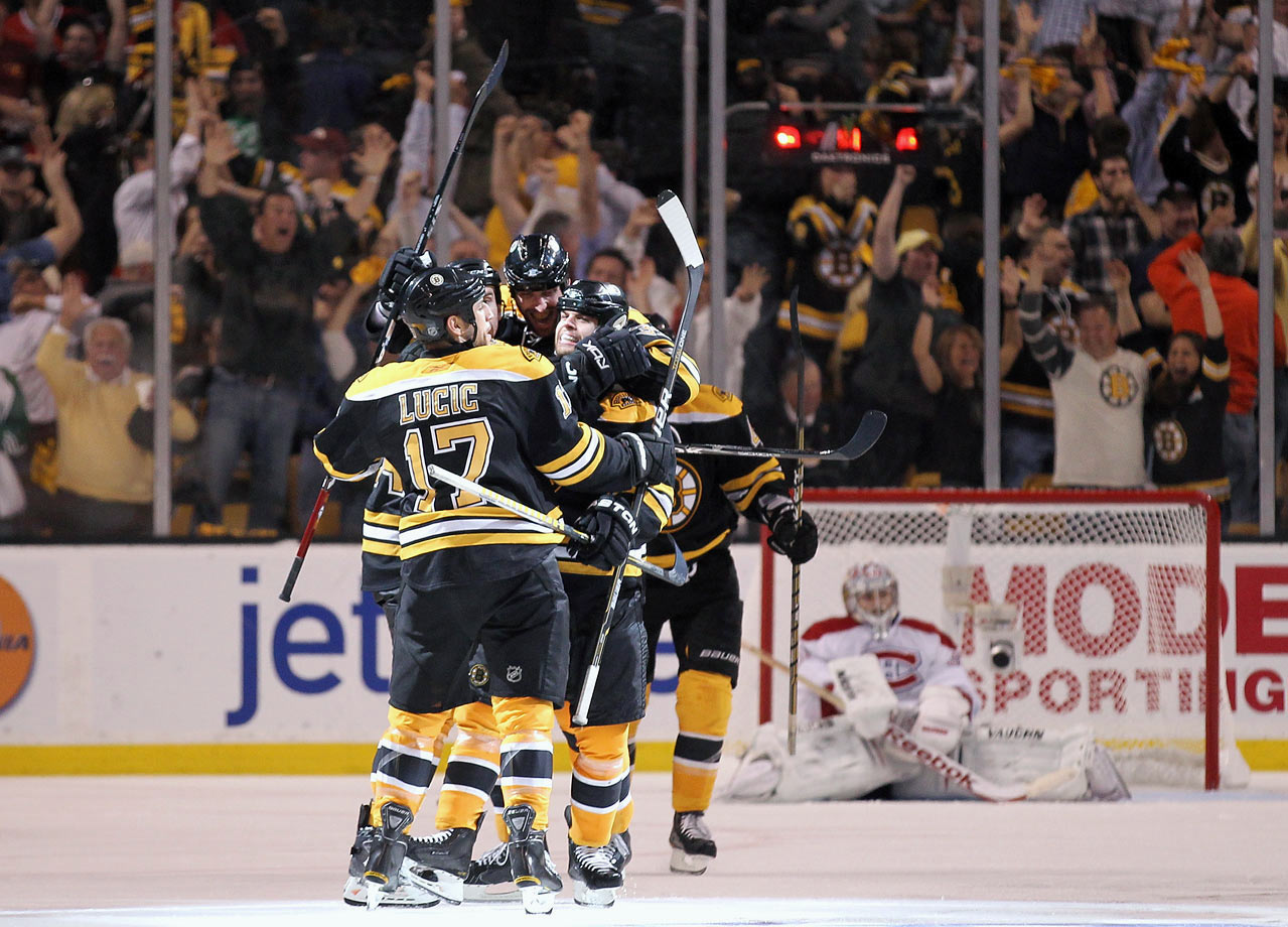 Nathan Horton scored 5:43 into overtime with a slap shot off a pass from Milan Lucic, setting off a celebration on the Bruins' bench and in the stands. It was Boston's third OT win in the series, including Game 5 when Horton scored 9:03 into the second extra period. The Canadiens won the first two games in Boston to swipe home-ice advantage, but the Bruins came back to win three straight -- including the first two in Montreal, and then Game 5 at home.