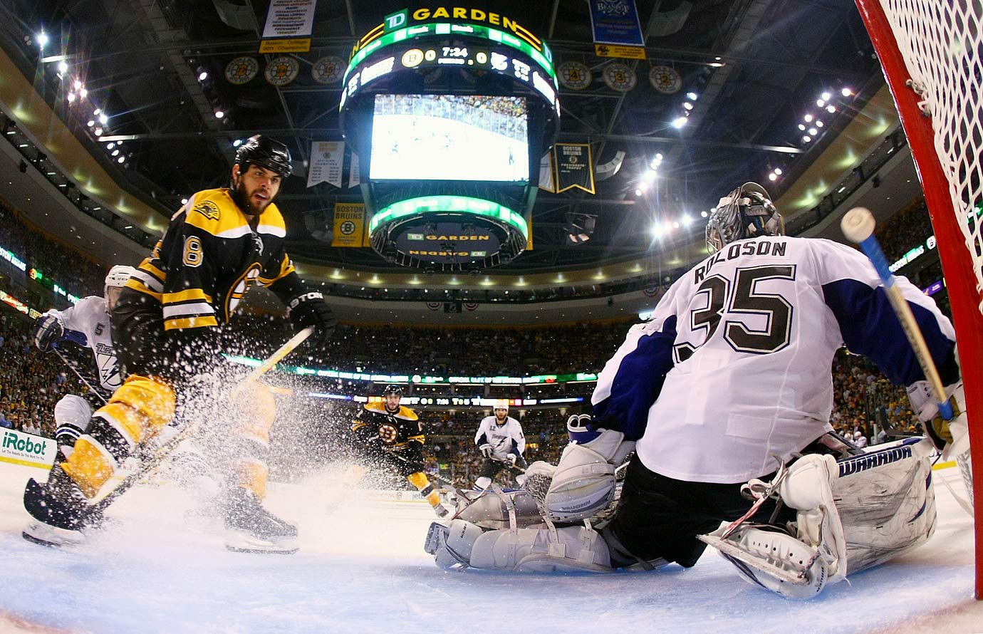 The Lightning battled back from deficits of two-games-to-one and three-games-to-two, forcing Game 7 with a rally—Vincent Lecavalier, Martin St. Louis and Brad Richards totaled three goals and eight points—and a gutty defensive effort in a 5-4 win. No penalties were called during the finale in Boston as goalies Tim Thomas of the Bruins and Dwayne Roloson of the Lightning dueled save for save. Nathan Horton gave the B's the 1-0 win by scoring with 7:33 left in the third period.