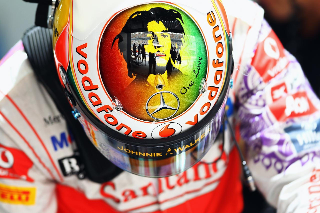 Lewis Hamilton wears a specially designed helmet with a tribute to Bob Marley as he prepares to drive during the final practice session prior to qualifying for the Indian Formula One Grand Prix at the Buddh International Circuit on Oct. 29, 2011 in Noida, India.