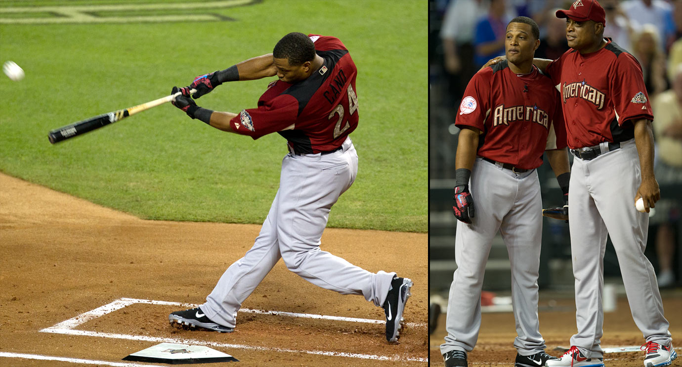 Robinson Cano outslugged Adrian Gonzalez to win a Home Run Derby that turned into a Yankees-Red Sox showdown. Batting last and being pitched to by his father, Cano defeated Gonzalez 12-11 in the finals after they each hit 20 home runs through two rounds