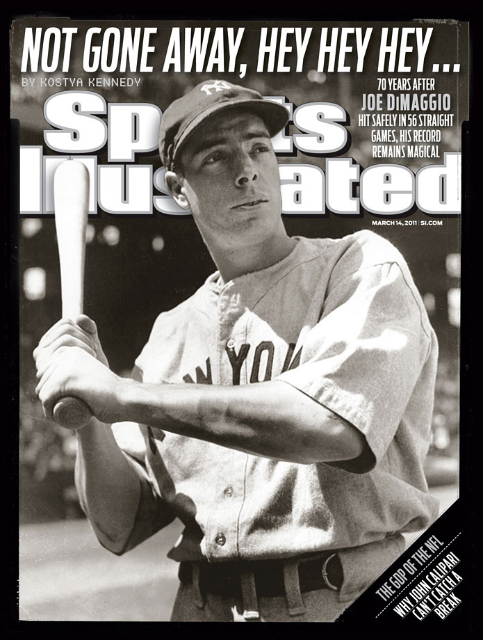 Joe DiMaggio poses before a game in 1941. The photo was used for this March 14, 2011 SI Cover containing a piece on how seventy summers ago DiMaggio hit safely in 56 straight games, setting the most hallowed record in sports.