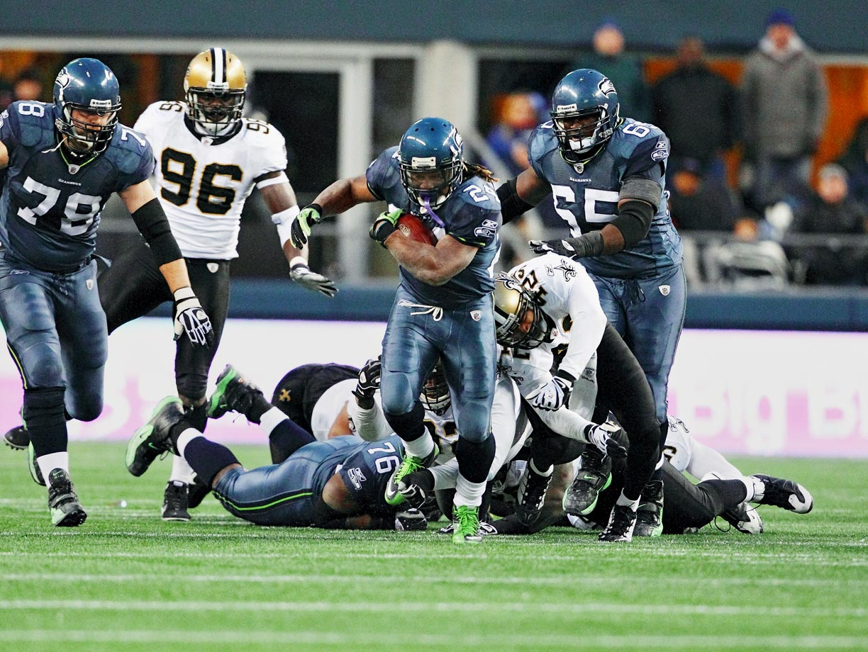 The Seahawks were protecting a three-point lead over the explosive Saints with 3:38 remaining when, on second down, Marshawn Lynch ran to the left, broke a tackle near the line of scrimmage, then broke another, and another. In all, Lynch fended off nine Saints on his way to a clinching 67-yard TD.