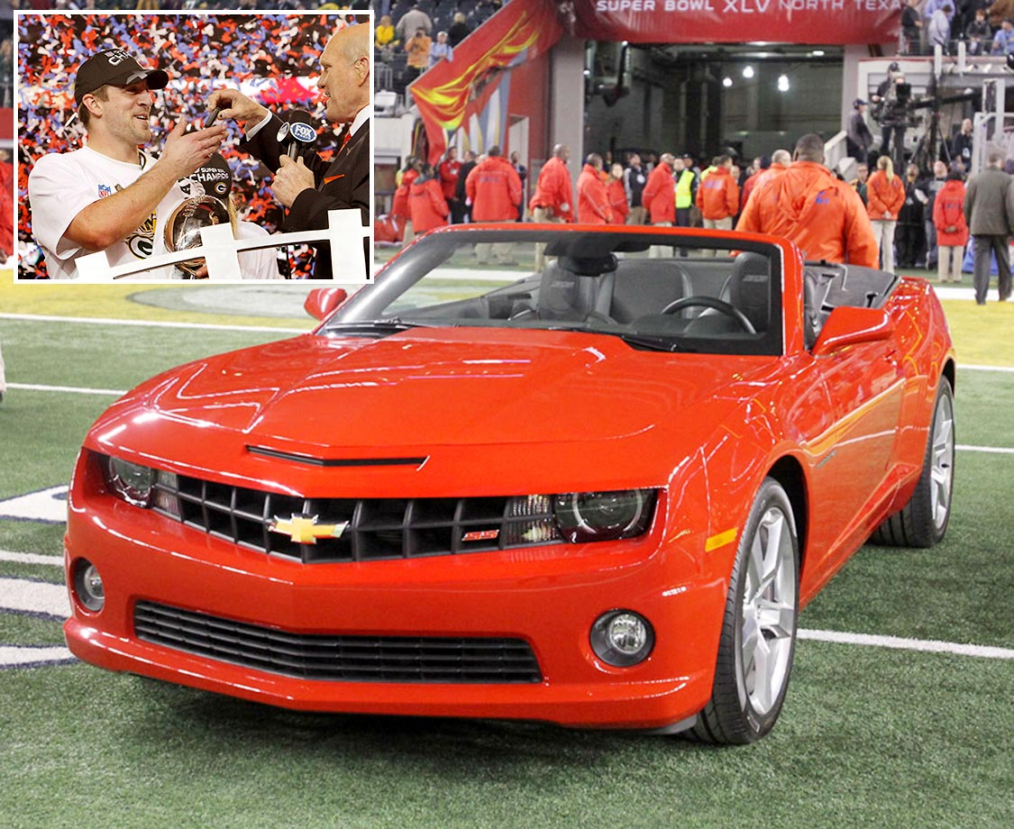 Super Bowl XLV MVP Aaron Rogders receives the keys to a new 2011 Chevrolet Camaro Convertible.