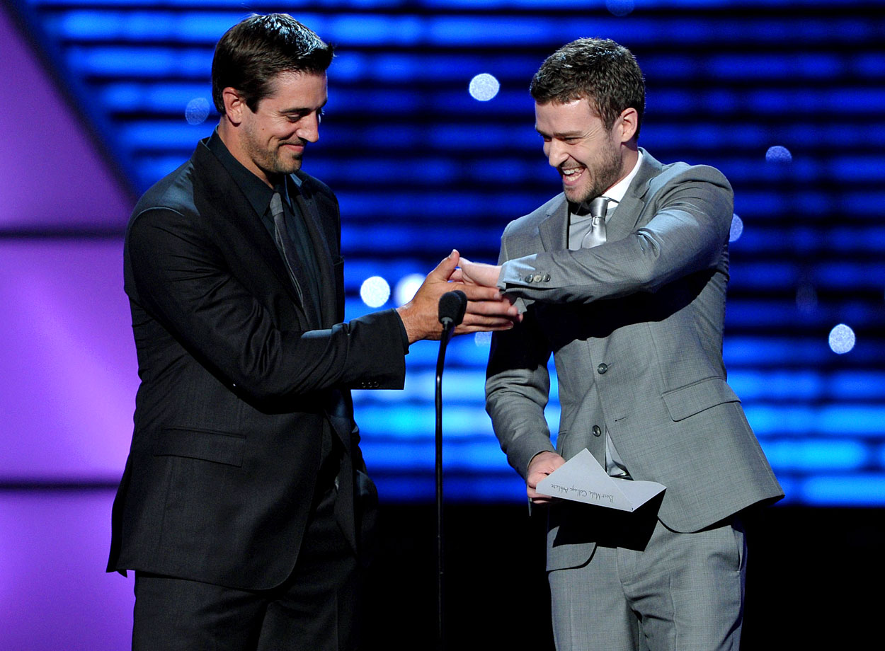 Aaron Rodgers and Justin Timberlake present the award for 'Best Male College Athlete' onstage at the ESPY Awards held at the Nokia Theatre L.A. Live in Los Angeles on July 13, 2011.