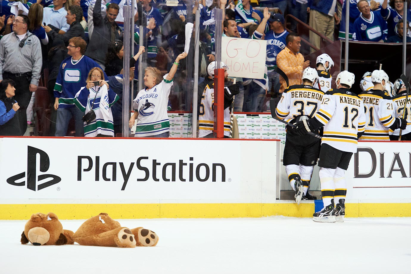 After narrowly winning Game 5 at home, 1-0, the Canucks were one win away from the franchise's first Stanley Cup. And their fans, known as a colorful and passionate bunch, showed their support, with one throwing a decapitated stuffed bear onto the ice as the defeated Bruins departed.