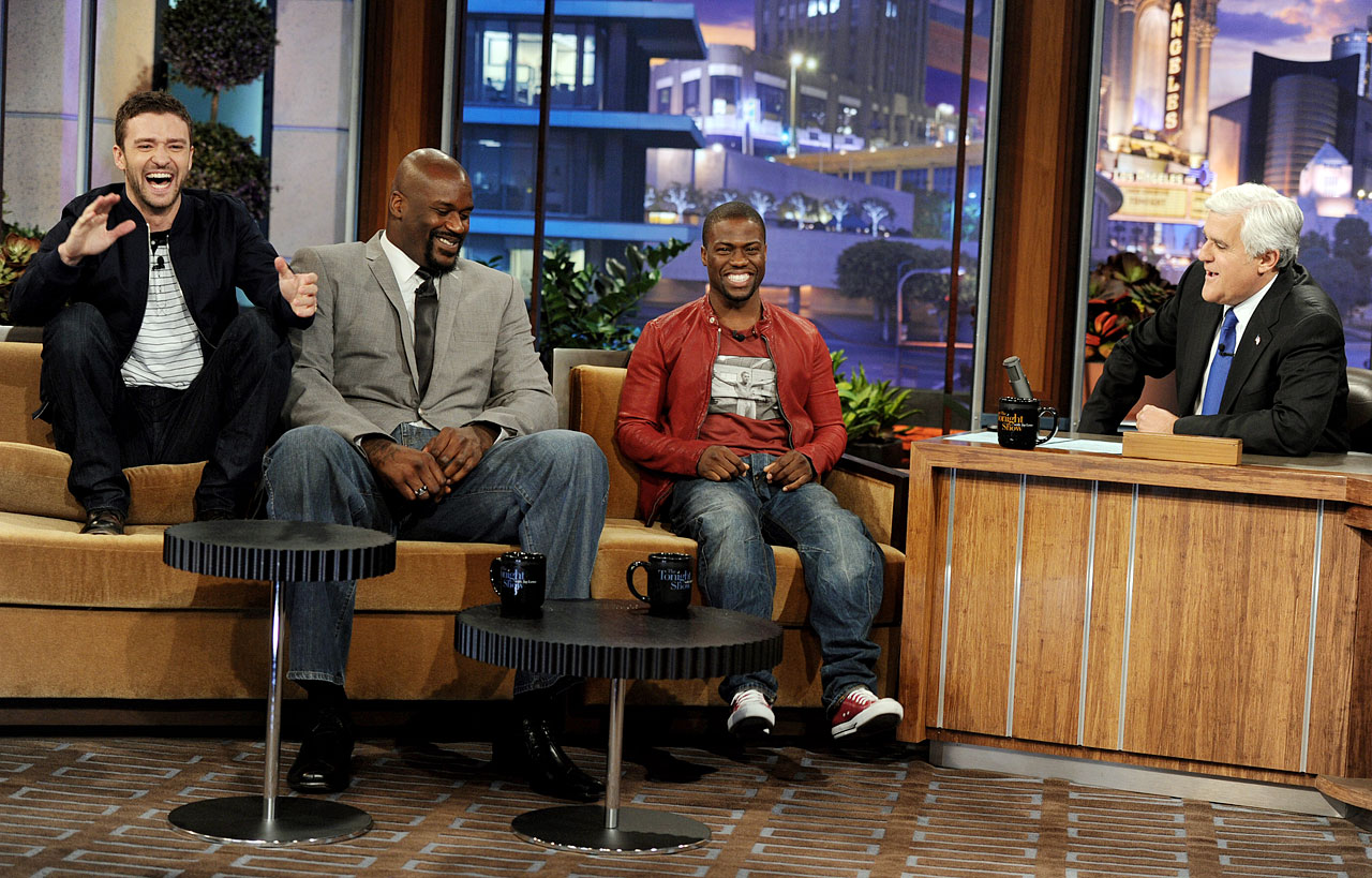 Justin Timberlake, Shaquille O'Neal and Kevin Hart appear on ''The Tonight Show with Jay Leno'' at the NBC Studios in Burbank, Calif., on June 23, 2011.