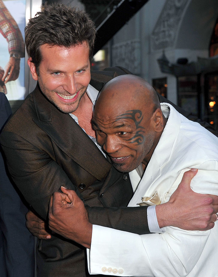 "Bradley Cooper and Mike Tyson joke around at the premiere of ""The Hangover Part II"" held at Grauman's Chinese Theatre in Los Angeles."
