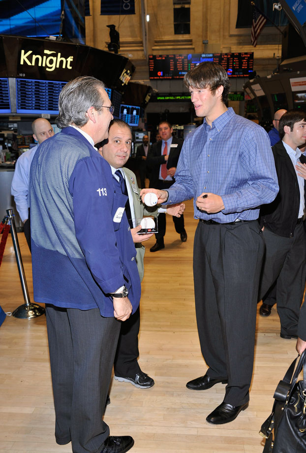 Clayton Kershaw visits the New York Stock Exchange on Jan. 20, 2012 in New York City.