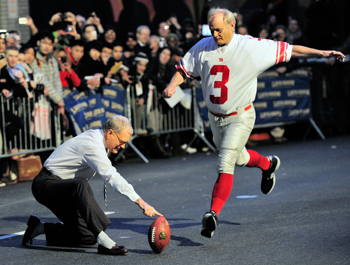"Bill Murray attempts a field goal with ""Late Show"" host David Letterman doing the holding on Jan. 31, 2012 on New York's 53rd Street."