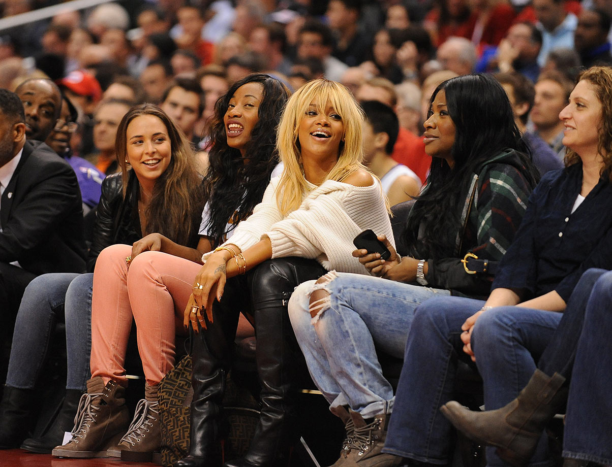 Rihanna looks on during the Los Angeles Clippers game against the Denver Nuggets on Feb. 2, 2012 at Staples Center in Los Angeles.