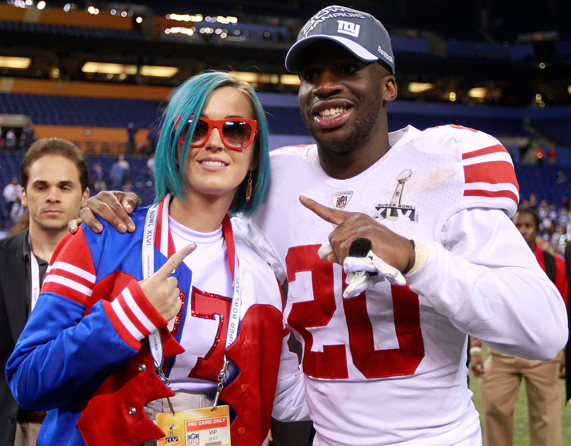 Katy Perry celebrates with Prince Amukamara after the Giants' 21-17 win over the Patriots in Super Bowl XLVI on Feb. 5, 2012 at Lucas Oil Stadium in Indianapolis.
