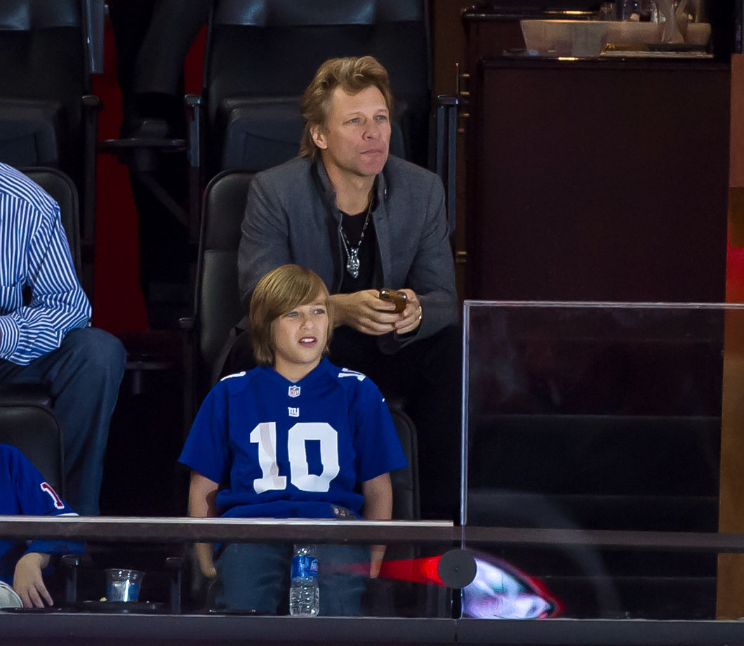 Jon Bon Jovi watches Game 3 of the Eastern Conference Final between the New York Rangers and New Jersey Devils at the Prudential Center in Newark, NJ.