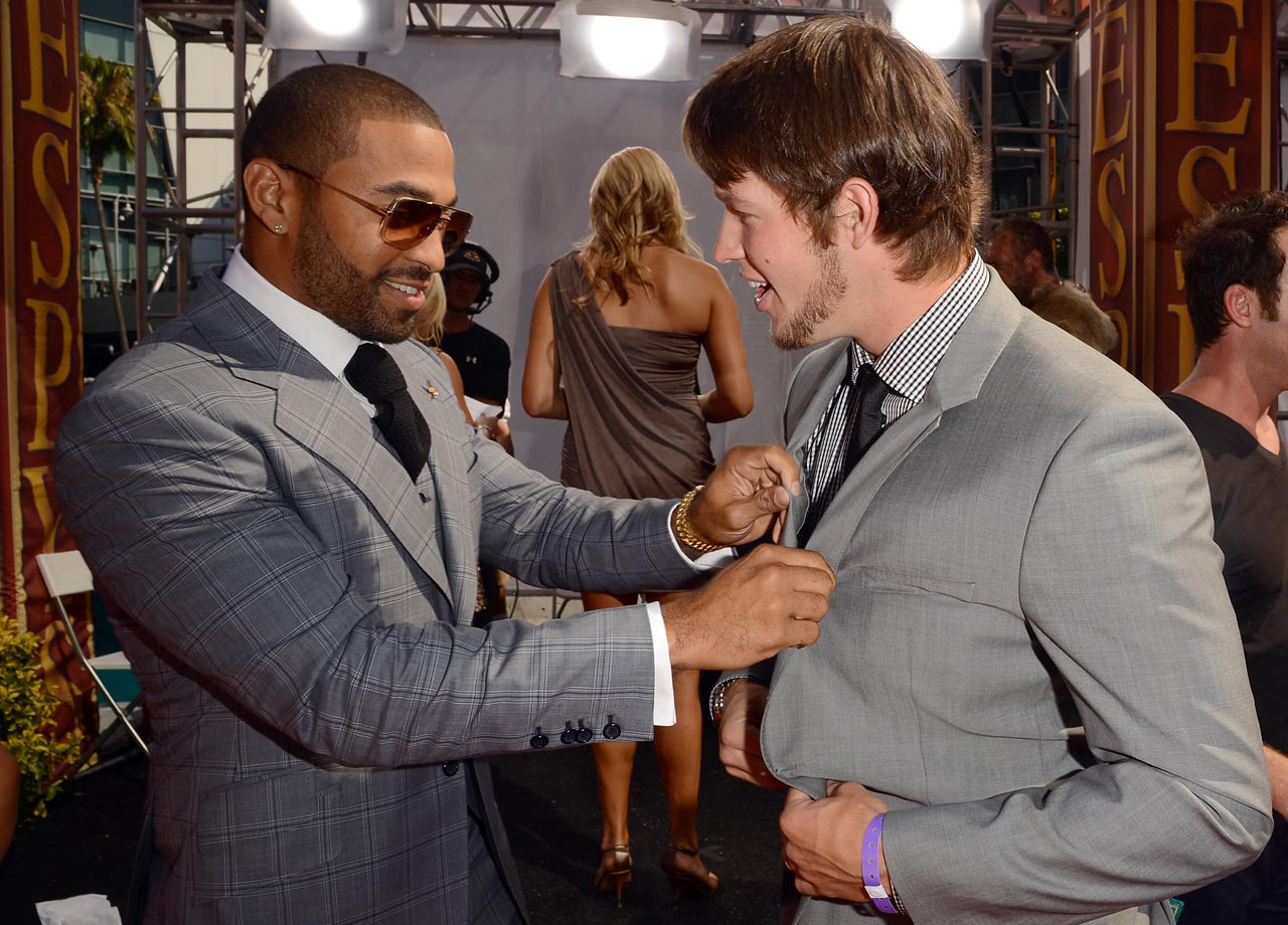 Matt Kemp adjusts Clayton Kershaw's tie as they arrive for the ESPY Awards at Nokia Theatre L.A. Live on July 11, 2012 in Los Angeles.