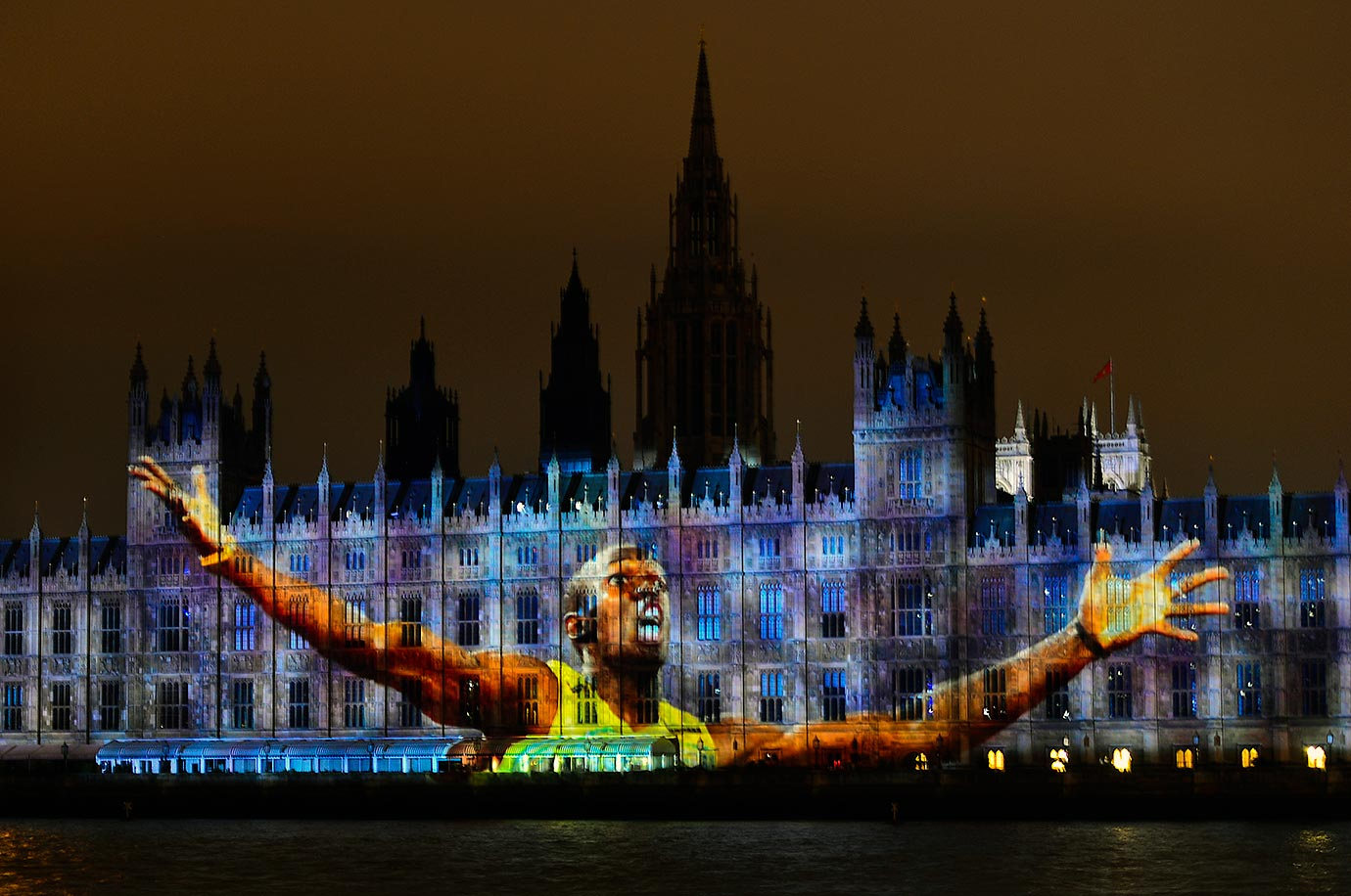 An image of Usain Bolt is projected on The Houses of Parliament in London during the Opening Ceremony of the 2012 Olympic Games.