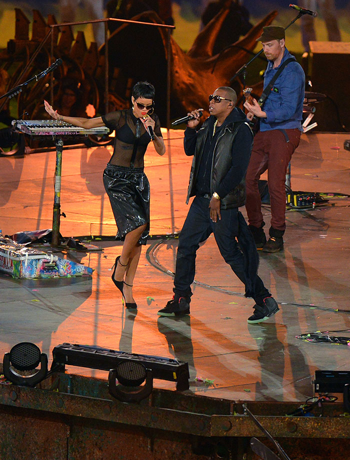 Rihanna and Jay-Z perform during the closing ceremony of the London Paralympic Games on Sept. 9, 2012 at the Olympic Stadium in east London.