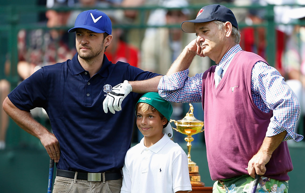 Justin Timberlake and Bill Murray wait with Sean Lehman on the first tee during the Ryder Cup Captains & Celebrity Scramble on Sept. 25, 2012 at Medinah Country Golf Club in Medinah, Ill.