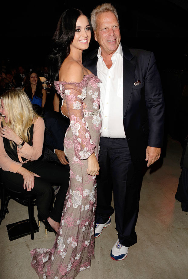 Katy Perry and New York Giants Chairman/Executive VP Steve Tisch attend amfAR's Inspiration Gala at Milk Studios on Oct. 11, 2012 in Los Angeles.