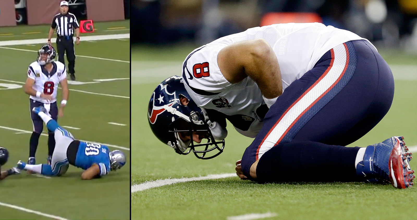 Suh was fined $30,000 for kicking Houston quarterback Matt Schaub during a Thanksgiving Day game on Nov. 22, 2012. After Suh was taken to the ground, his foot swung toward Schaub and hit him in the groin area.