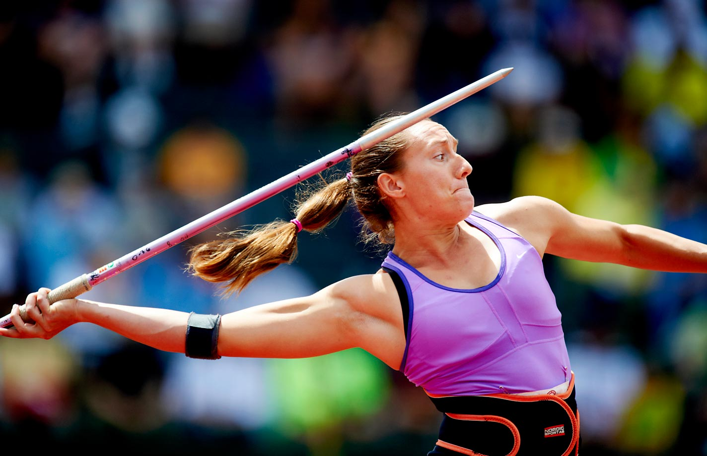 Amy Backel throws the javelin at the 2012 U.S. Olympic Trials.