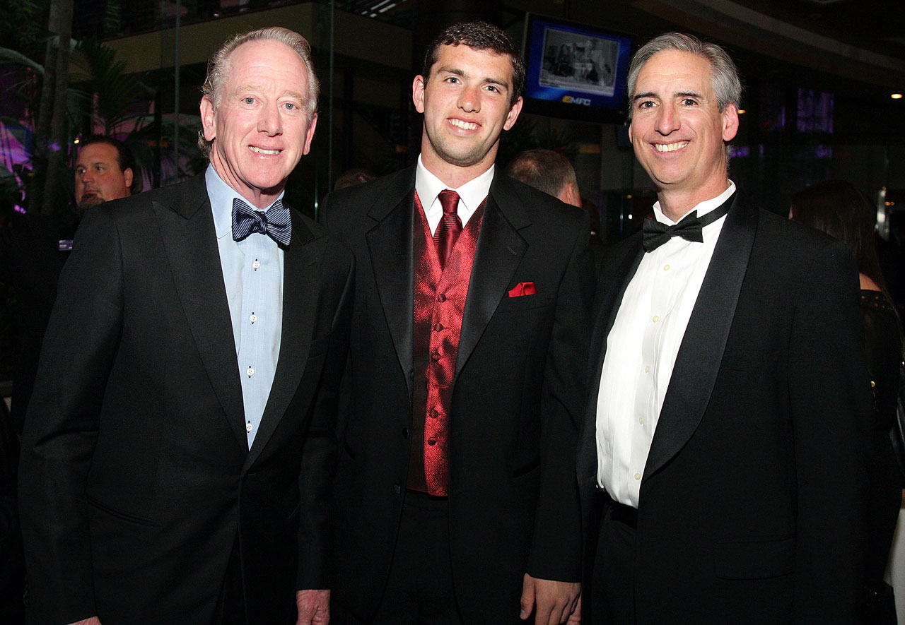 Andrew Luck poses with his father Oliver Luck (right) and Archie Manning while attending the 75th Annual Maxwell Football Club National Awards Dinner on March 2, 2012 at Harrah's Resort in Atlantic City, N.J.