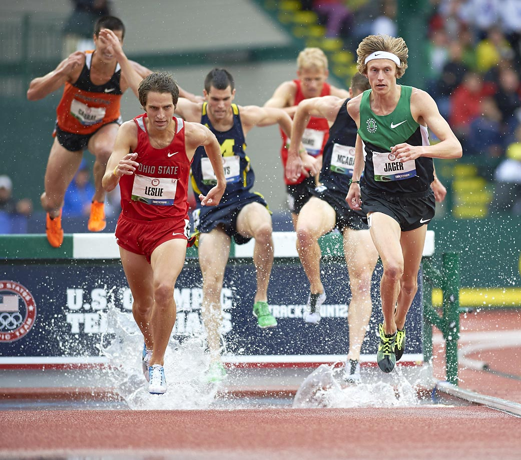 Evan Jager (13) and Cory Leslie (6) during the 3,000-meter Steeplechase at the 2012 Olympic trials.