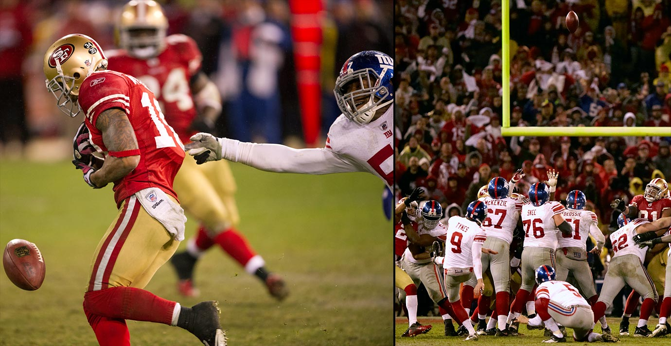 The Giants trailed the 49ers twice on the road, but New York rallied and won the game behind a stout defensive effort and two passing touchdowns from quarterback Eli Manning. After a back-and-forth contest in regulation, the game entered overtime tied at 17. But 49ers punt returner Kyle Williams, who muffed a punt in the fourth quarter to set up a Giants touchdown, fumbled a punt deep in San Francisco territory in overtime. The Giants kicked a field goal five plays later to win 20-17.