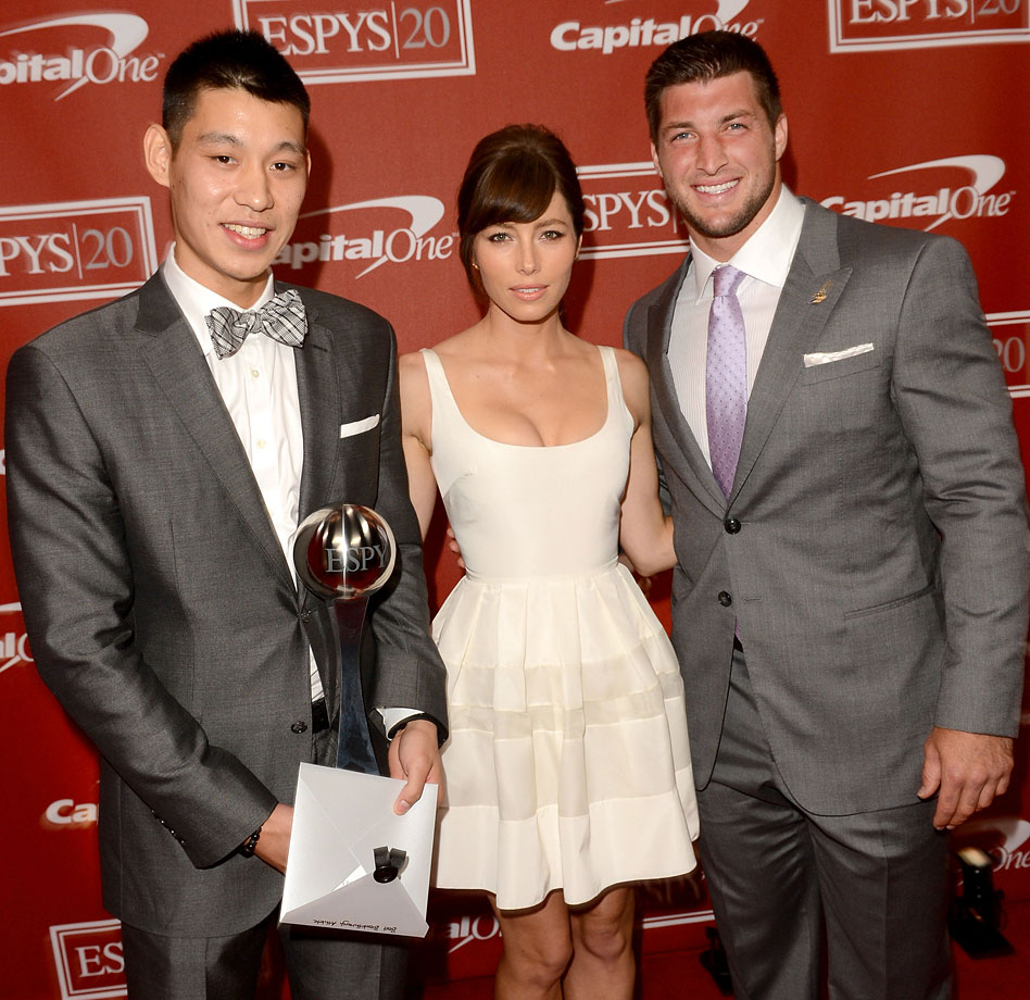 Jeremy Lin, Jessica Biel and Tim Tebow attend the 2012 ESPY Awards at Nokia Theatre L.A. Live in Los Angeles.