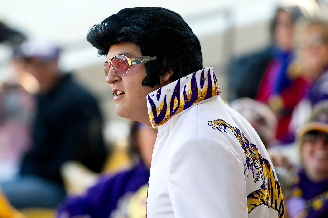 An LSU and Elvis fan watches the 2012 Tiger Classic softball game against Penn State at Tiger Park in Baton Rouge, La.