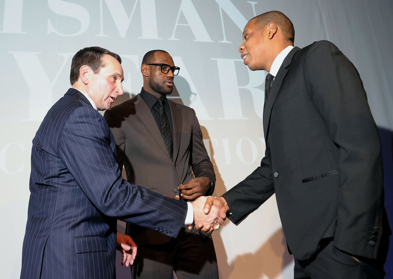 Mike Krzyzewski, Lebron James and Jay-Z attend the 2012 Sports Illustrated Sportsman of the Year award presentation for LeBron in New York City.