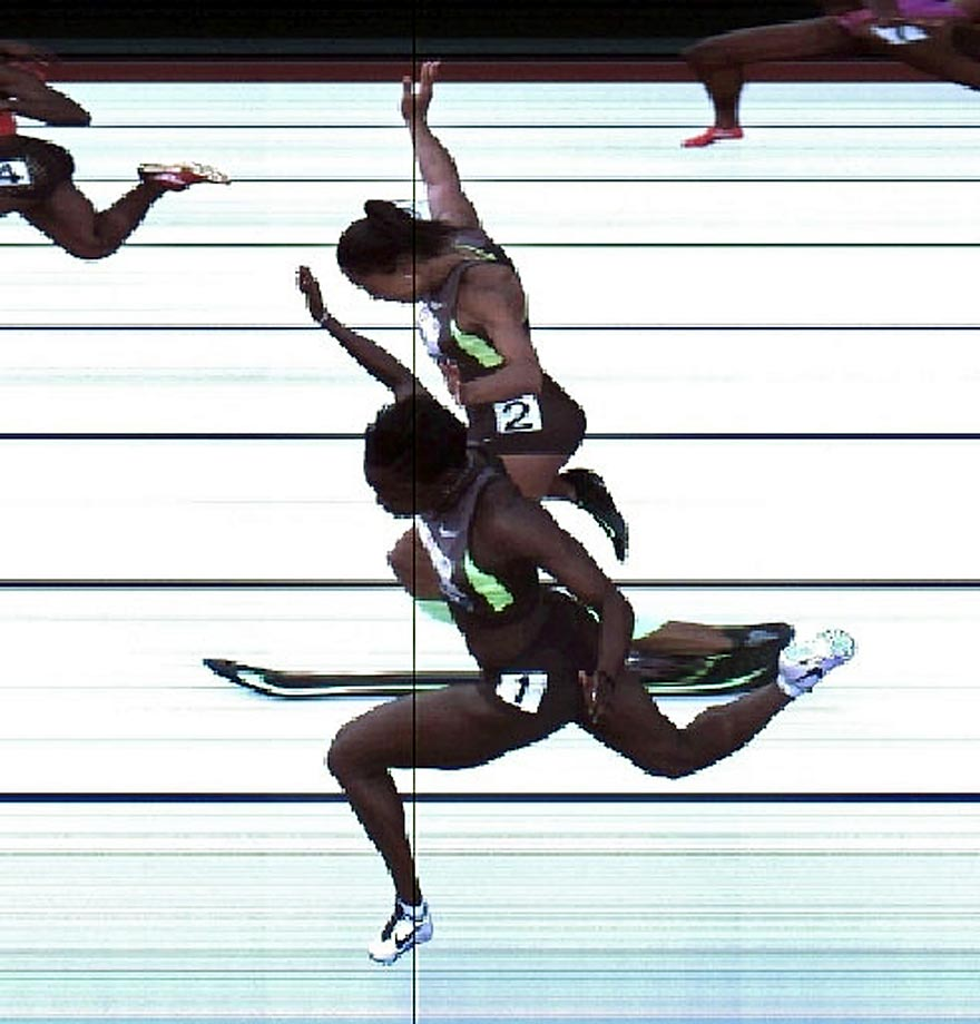 Jeneba Tarmoh and Allyson Felix in a photo finish during the 100-meter dash final at the 2012 U.S. Olympic Track & Field Team Trials.