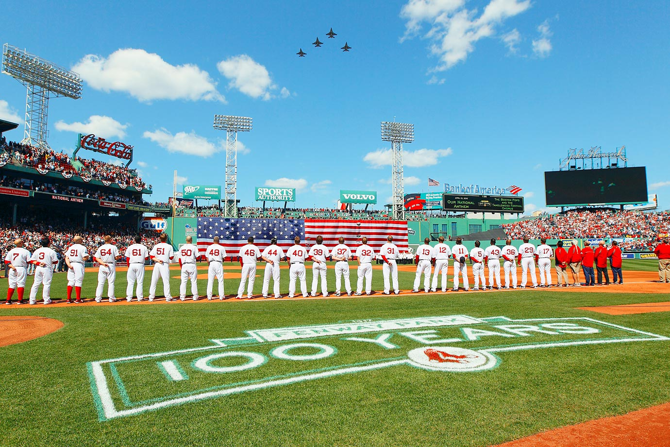 The 158th Fighter Wing of the Vermont Air National Guard perform a flyover before a 2012 game between Boston and Tampa Bay  at Fenway Park.