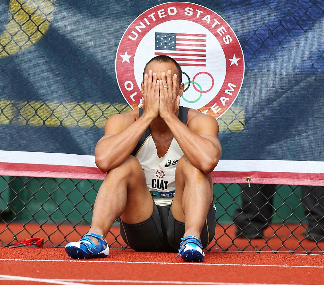 A dejected Bryan Clay at the 2012 U.S. Olympic Trials decathlon.