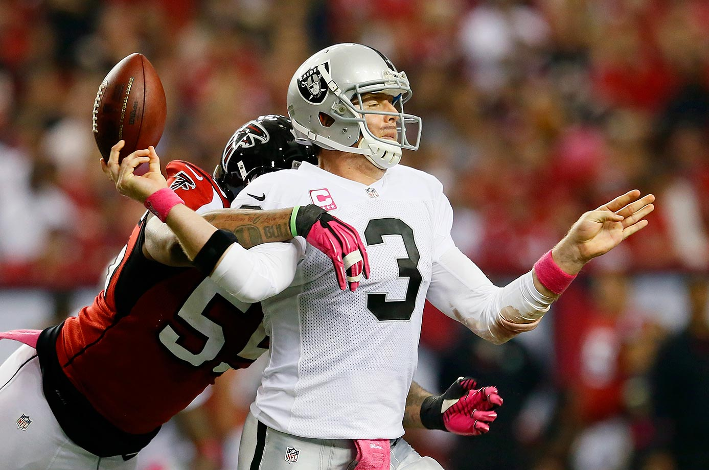 The Raiders went 4-11 with Palmer at quarterback in 2012.