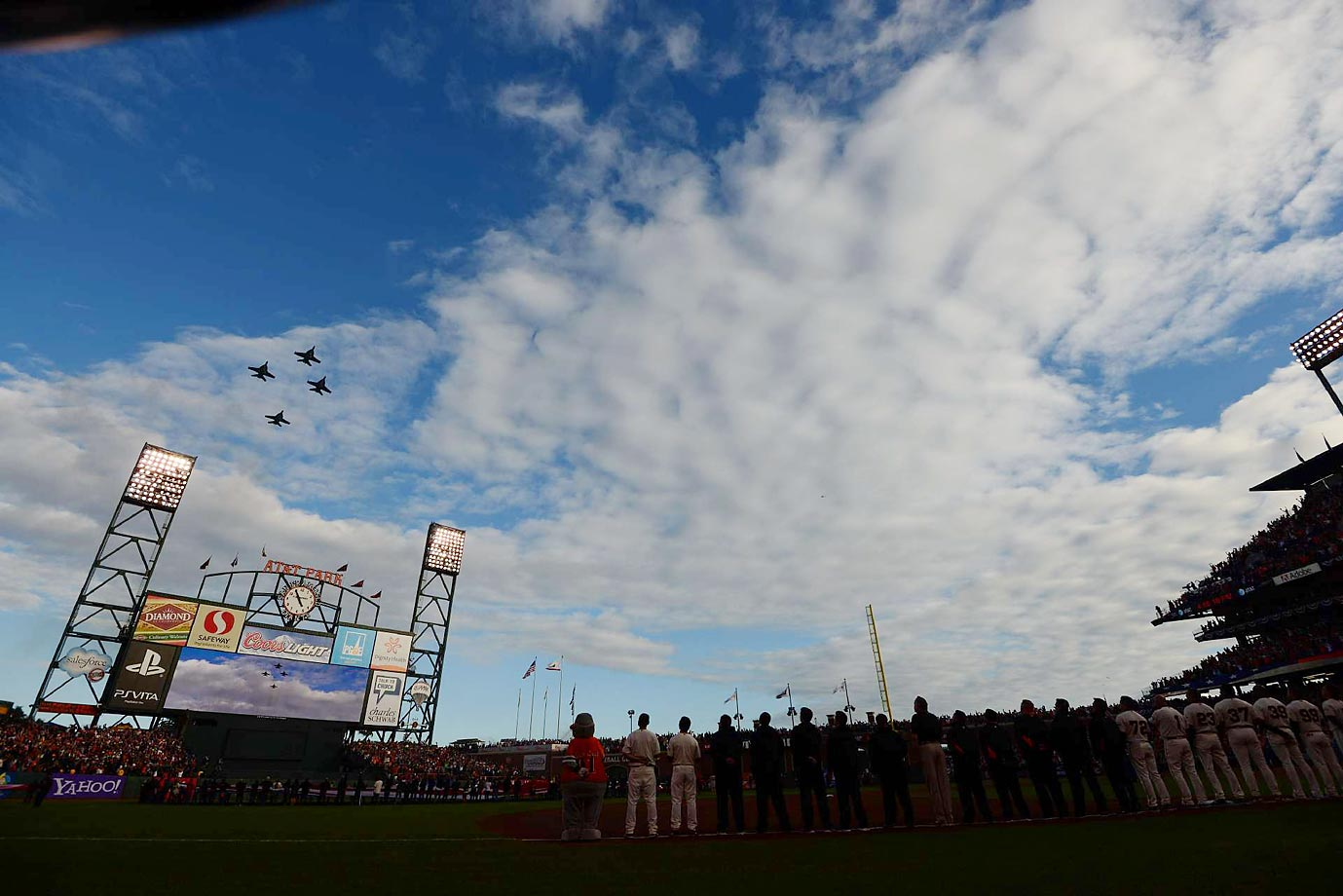 Jets flyover during the national anthem before Game 1 of the 2012 World Series between the Detroit Tigers and San Francisco Giants.
