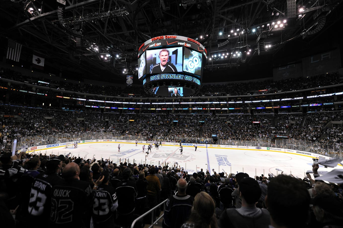 Will Ferrell, appearing on the jumbotron, gets the crowd pumped up during Game Four of the Stanley Cup Final between the Los Angeles Kings and New Jersey Devils on June 6, 2012 at Staples Center in Los Angeles.